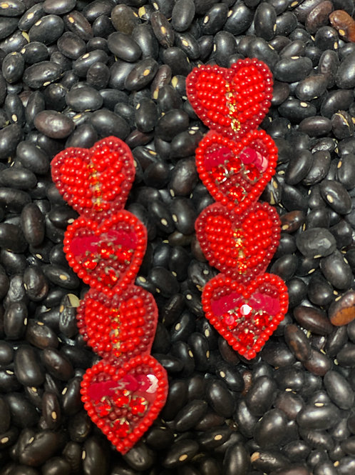 Red Heart Earring - Post
