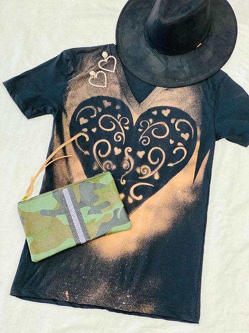 V-Neck Black Heart of Gold T-Shirt