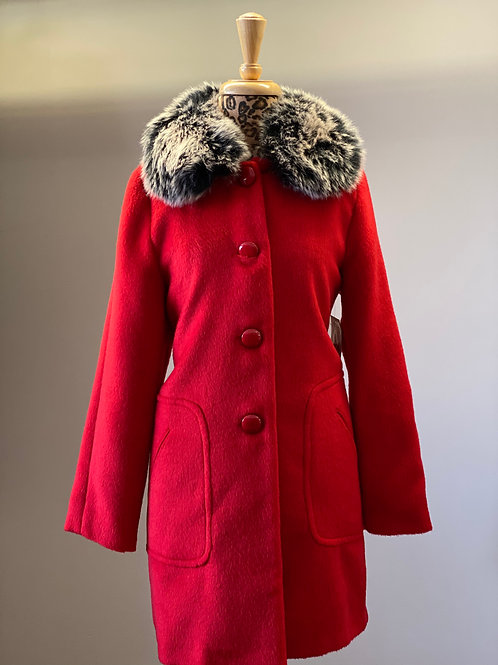 Red Car Coat with Faux Fur Collar