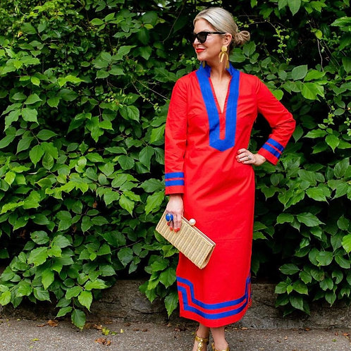 PRE-ORDER ~Red with Navy Trim Maxi