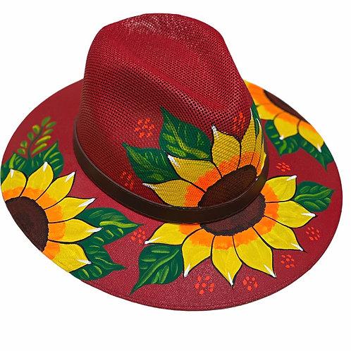 Red Sun Flower Straw Hat