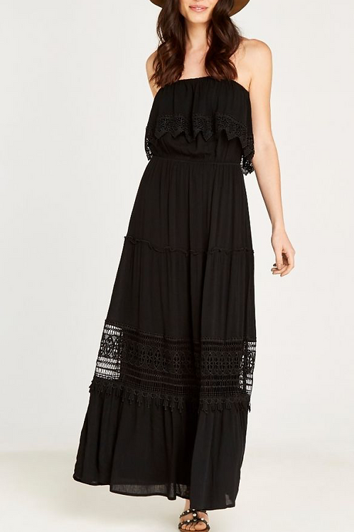 Black Smock Lace Maxi Dress