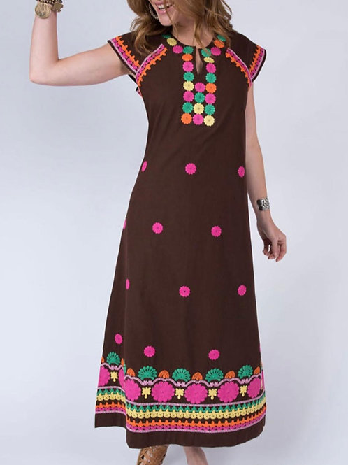 Chocolate Embroidered Maxi Dress