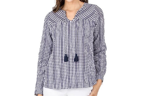 White & Navy Plaid Top