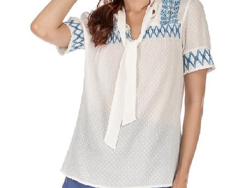 White with Blue Embroider Top