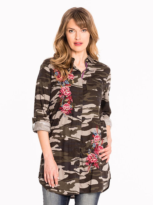 Camo Shirt Dress with Embroidery