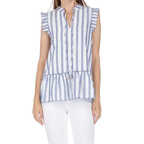 Blue & White Stripe Ruffle Sleeve