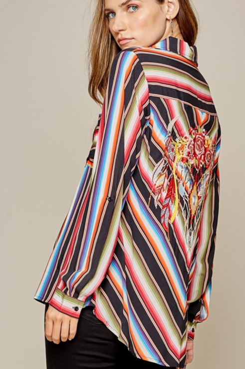 Stripe Shirt with Embroidery Details on Back
