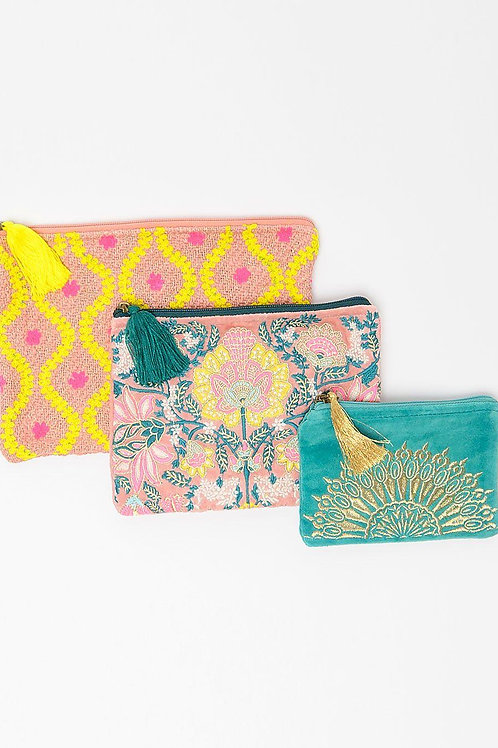 Ivy Jane Clutch - Make Up - Travel ~ Sold as a set of 3 ~ Green
