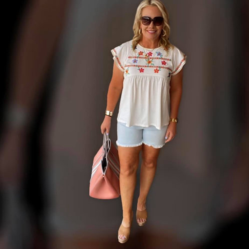Floral White Embroidered Top