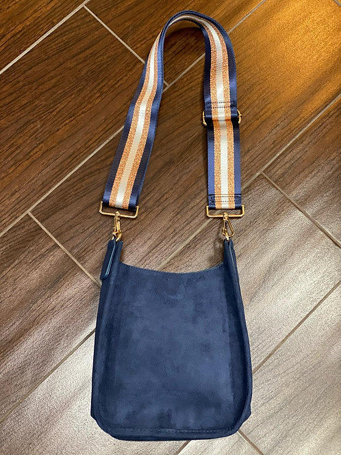 Mini Faux Suede Messenger With Printed Adjustable Web Strap ~ Navy