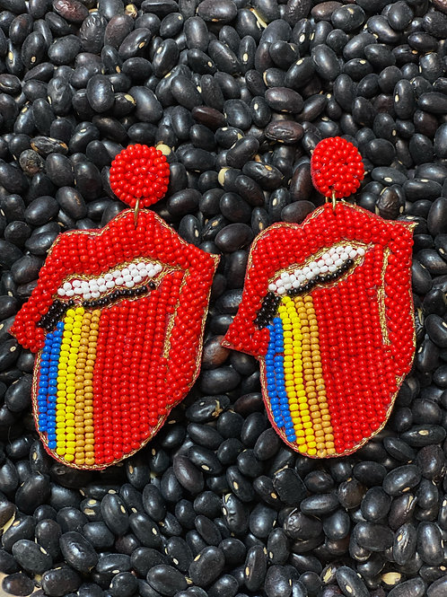 Lips Red Earring - Post