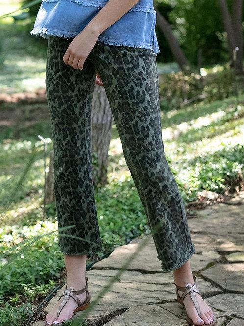 Sage Leopard Crop Jean