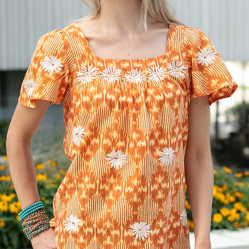 Orange, Yellow & White Embroidery Floral Print Top