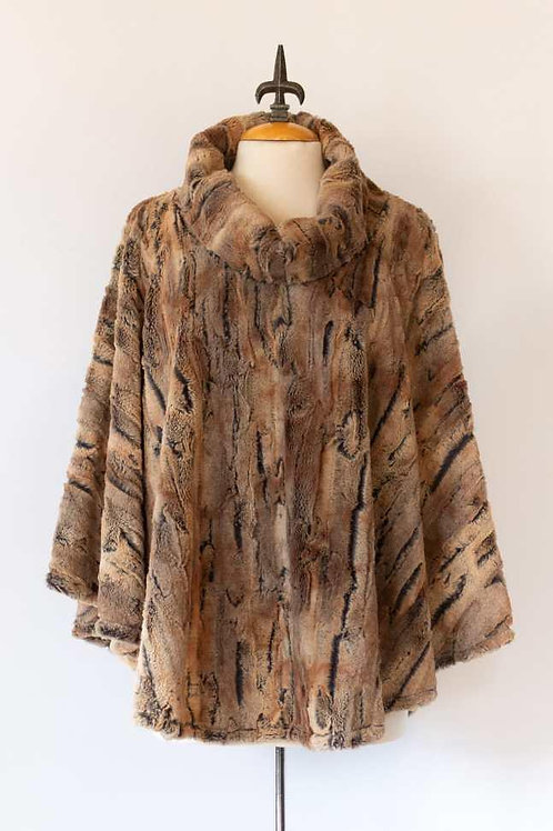 Faux Fur Poncho One Size Rust