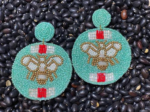 Mint Bee Beaded Earrings - Post
