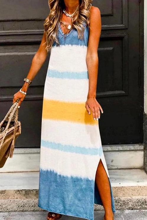 Sleeveless V-Neck Tie-Dyed Maxi Dress
