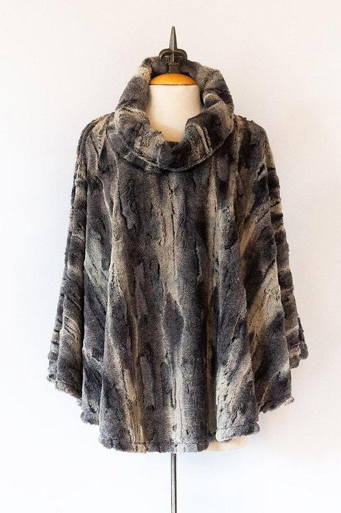 Faux Fur Poncho One Size Black/Grey