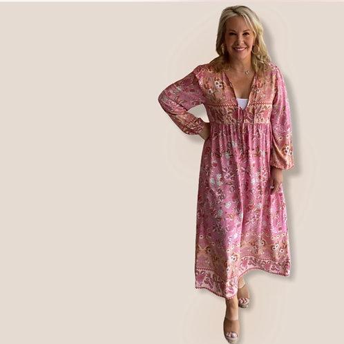 Maxi Pink Floral Dress