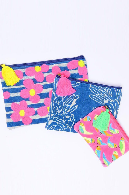 Ivy Jane Clutch - Make Up - Travel ~ Sold as a set of 3 ~ Blue