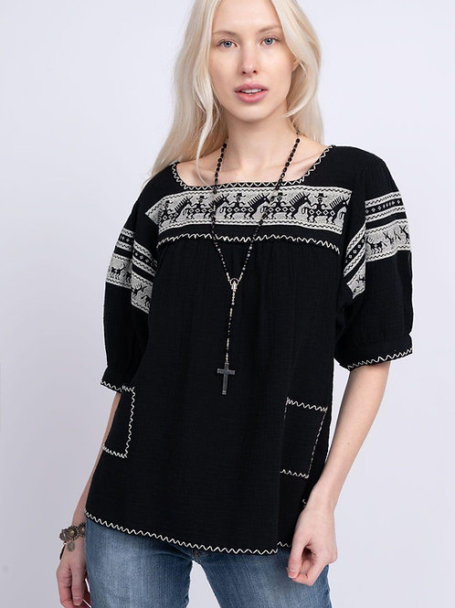 Becker Top with Pockets Black