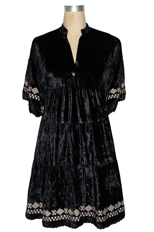 Ivy Jane Black Velvet Dress with Embroidery