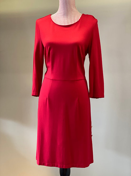 Jade Red Dress with Gold Buttons