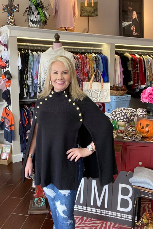 Sweater Cape with Button Detail ~ Black Only