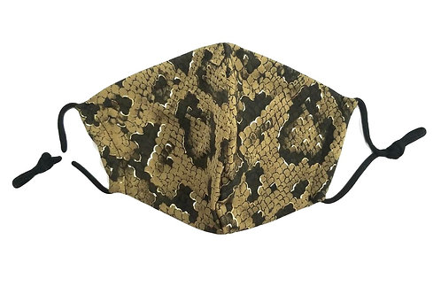 Gold ~ Brown ~ Black Snake Print ~ Insert ~ Double Layer ~ Adult Mask