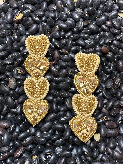 Gold Beaded Heart Earring - Post