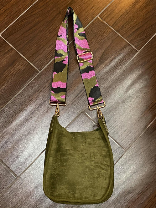 Olive Mini Faux Suede Messenger With Adjustable Web Strap