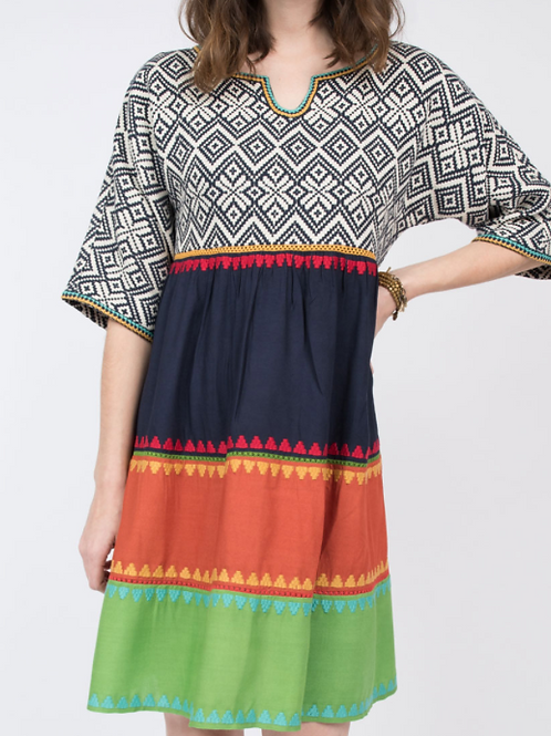Ivy Jane Color Block Diamond Print Dress