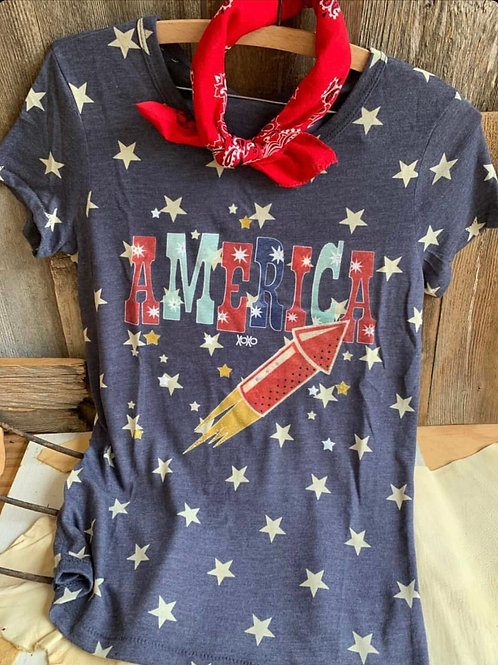 America T-Shirt Firecracker With Crystals