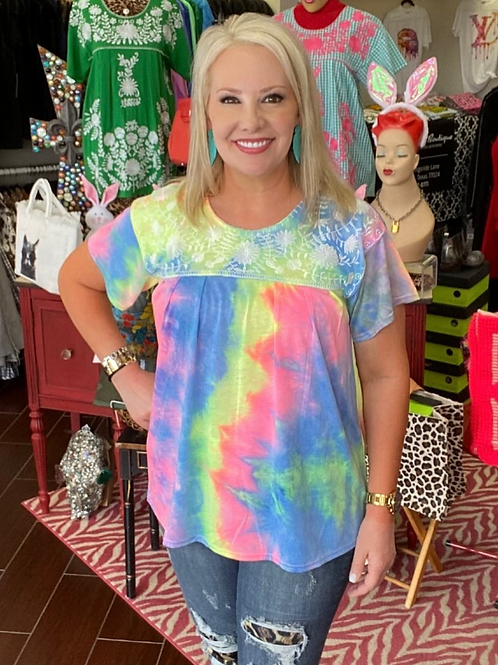 Candy Embroidery Tie Dye Top