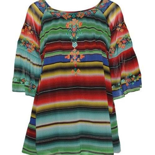 Serape Multi Top/Tunic with Embroidery