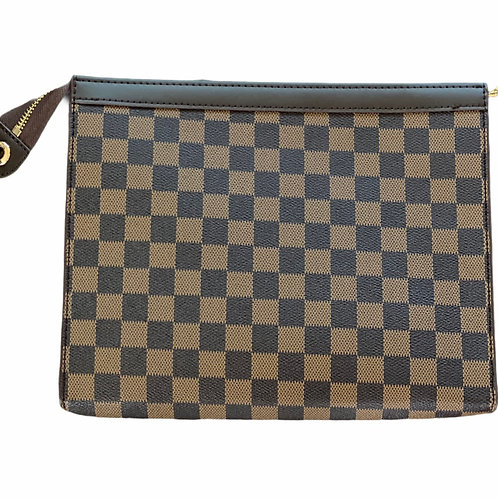 Checked Clutch with Zipper - Brown