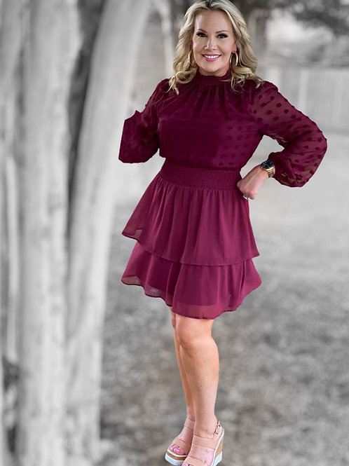 Wine Sheer Dot Dress