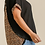 Thumbnail: Back Animal Print Detail Waffle Knit Top with Frayed High Low Scoop Hem