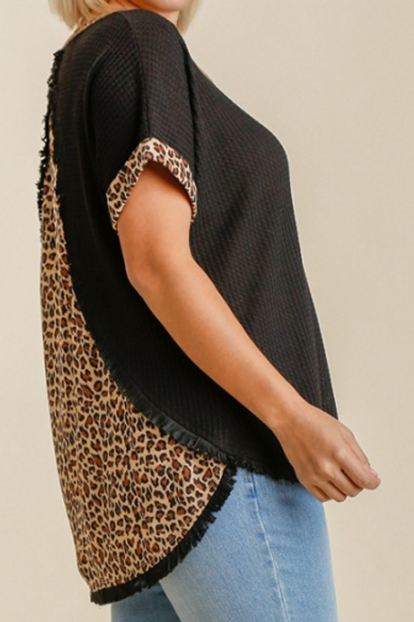 Back Animal Print Detail Waffle Knit Top with Frayed High Low Scoop Hem