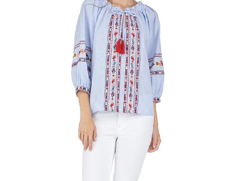 Darling Stripe White & Blue Top with Embroidery