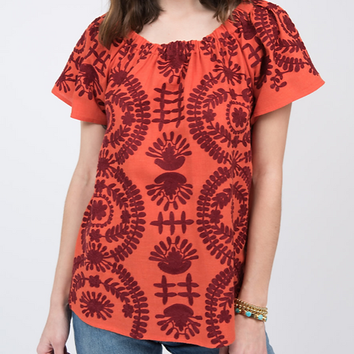Ivy Jane Tangerine Embroidery Top