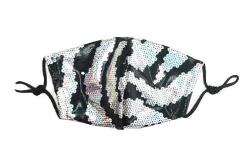 Fancy Zebra Sequin ~ Double Layer ~ Insert ~ Adult Mask