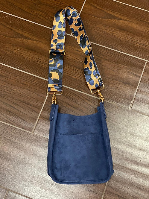 Mini Faux Suede Messenger With Printed Adjustable Web Strap