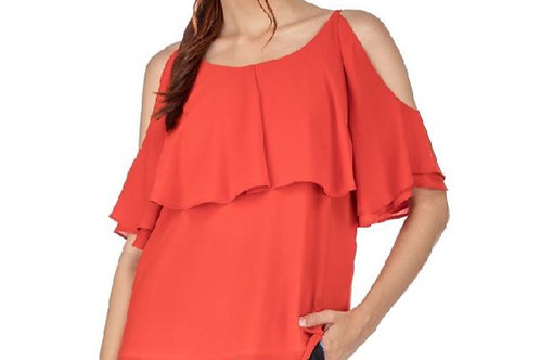 Red Cold Shoulder Top W/Ruffle