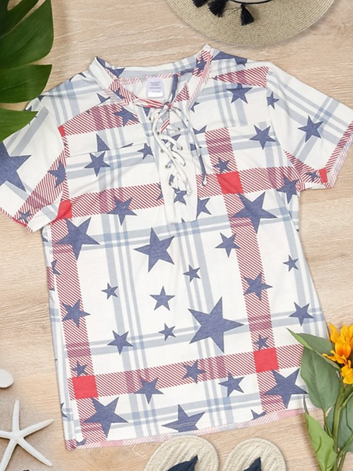 Red White & Blue Stars Top