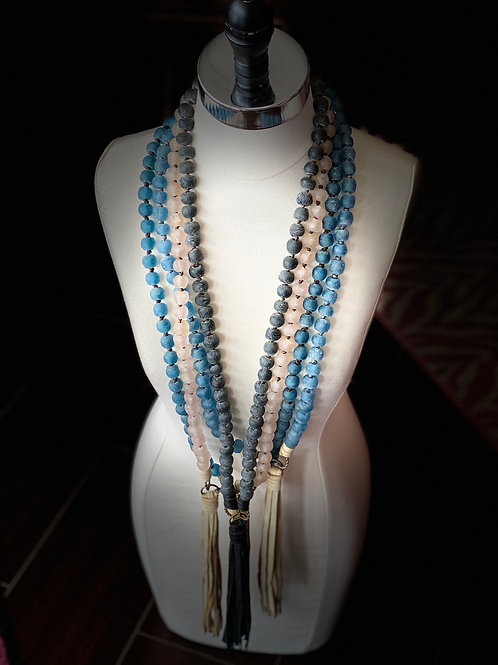 Handmade Glass Beaded Necklace with Leather Tassel