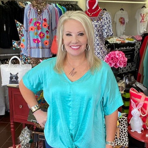 Ivy Jane Twist Front V-Neck Top Turquoise
