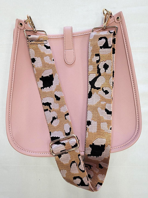 Pink Vegan Crossbody with Leopard Strap Included