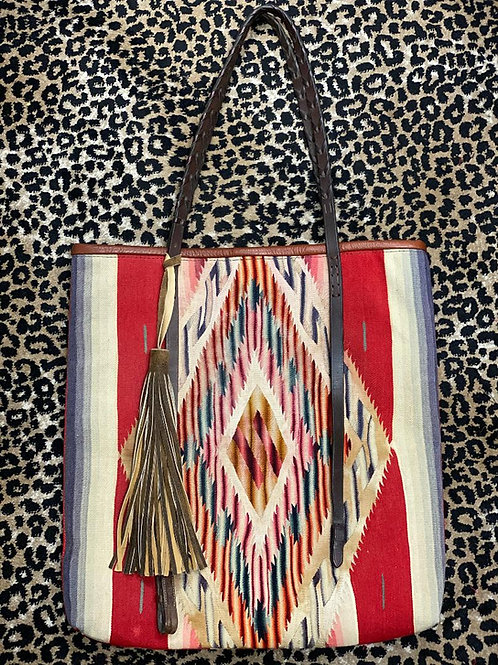 Totem Salvaged Serape Tote Handbag with Vintage Rein Handles