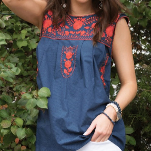 Navy Sleeveless Ameilia Top